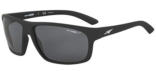 Arnette Men's AN4225 Burnout Rectangular Sunglasses, Fuzzy Black /Polarized Grey, 64 ()