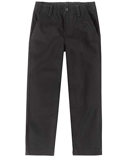 Nautica Boys' Little School Uniform Flat Front Twill Pant, Black/Pull-on, 4