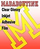 Madaboutink Clear Glossy Vinyl Inkjet Adhesive Sticker Film 5 A4 Sheets Clear