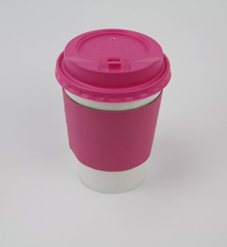 50 Sets Coffee Cups 12 oz Disposable With Pink Lids & Pink Sleeves Hot Coffee Cups With Lids & Sleeve Holders