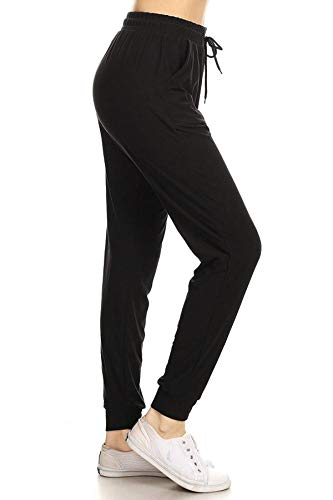 Leggings Depot JGA128-BLACK-M Solid Jogger Track