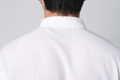 JTC Hommes Costume Kung-fu Rétro Vêtement Chinois Veste Manches Courtes blanc