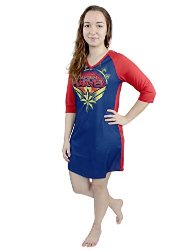 Captain Marvel Women's 3/4 Sleeve Dorm Nightgown Pajamas (X-Small, Navy/Red)