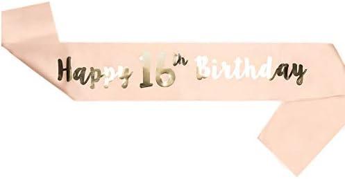 LINVINC Oro Rosa Banda de Satén para Cumpleaños -