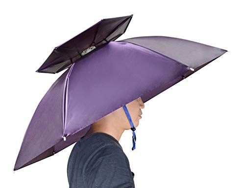 NEW-Vi Fishing Umbrella Hat Double Layer Folding Compact UV Wind Protection Adjustable Golf Umbrella Caps Gardening Outdoor