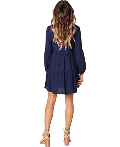 Neck Casual V Dress Loose Long Pleated Dark Swing Sleeve HPLY Dresses Ruffle Blue Women FazUwU