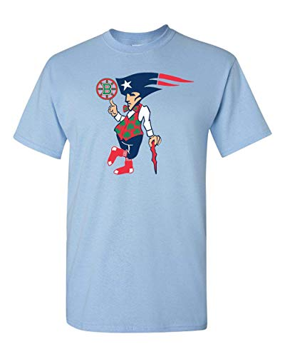 Boston New England Sports Teams Adult Unisex T-Shirt - Makes a Great Gift Tee for Patriots Redsox Celtics and Bruins Fans! Light Blue