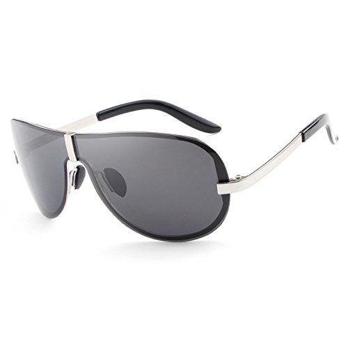 HDCRAFTER Men's Fashion Oversized Rimless Polarized Outdoor Driving Sunglasses UV400 Anti-Reflective - Sunglasses 70s Men