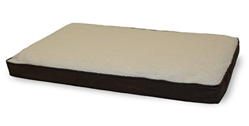 Furhaven Pet Sherpa and Suede Deluxe Fiber Pillow Dog Bed (Brown Suede Crate Mat)