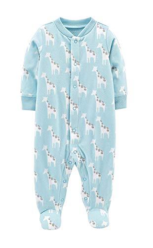 Carter's Little Boys' Football Micro-Fleece Sleeper (3 Months, Blue/Giraffe)