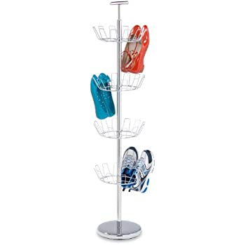 Honey-Can-Do SHO-01483 Shoe Tree with Spinning Handle, Chrome, 4-Tier