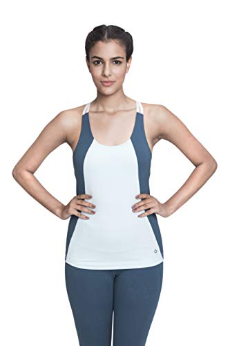 Satva Premium Organic Cotton Open Back Strappy Tank Top Camisole with Built in Shelf Bra for Yoga Workout Running Sports Training Cycling Arhat Fitted Cami, Powder Blue & Petrol Blue, Large (Best Sports Bike For Female Beginners)