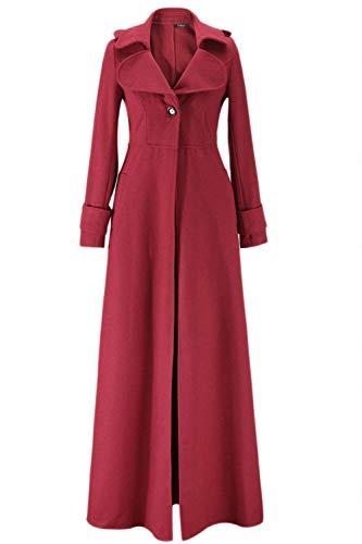 Elegantes Slim Espesor Gabardina Larga Mujer Chaqueta Abrigos Retro Parka Outerwear Moda Largos Vintage Solapa Fit Manga Rojo Termica Unicolor Invierno De vxSf5qZx