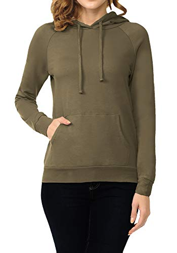 ClothingAve. Womens French Terry Pullover/Zip-Up Front Kangaroo Pocket Hoodie Top Dark Olive Small