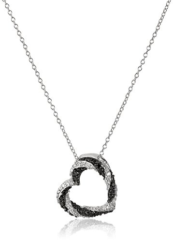 - Sterling Silver Black and White Diamond Open Heart Pendant Necklace (1/5 cttw, J-K Color, I2-I3 Clarity)