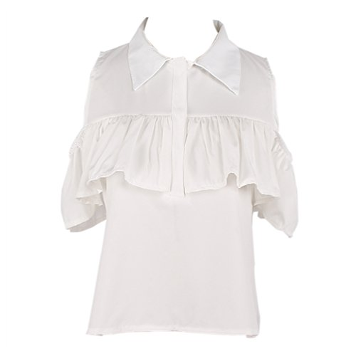 Stand Collar Shirt Ruffle (Focal20 Women Cold Shoulder Ruffle Blouse Sleeveless Button Down Shirt Stand Collar)