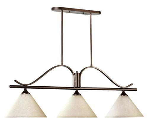 - Three Light Oiled Bronze Linen Glass Island Light