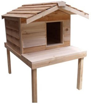 CozyCatFurniture Large Waterproof Outdoor Cat House with Platform and Extended Roof | Natural Cedar...