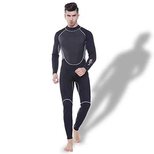 (ZUKN Men's Wetsuits, 3MM Neoprene Plus Size Thermal Diving Suit Long Sleeve Sunscreen One-Piece Swimwear for Scuba Swimming Surfing Snorkeling,XXL)