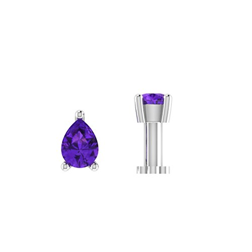 Pear Shaped 0.20 ct D/VVS1 Simulated diamond 925 Sterling Silver Stud Screw & Twist Wire nose pin