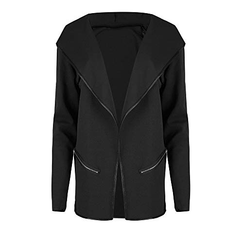 Winter Lapel Irregular Long Sleeves Warm Jacket Open Front Cardigans Trench Coat(Black, L)