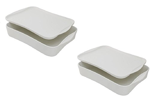 10 Strawberry Street Baker with Serving and Storing Lid, White (Set of 2) by 10 Strawberry Street (Image #2)