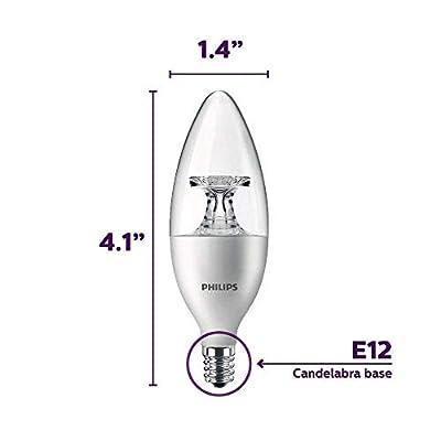 Philips LED Dimmable B11 Clear Candle Light Bulb: 300-Lumen, 5000-Kelvin, 4.5-Watt (40-Watt Equivalent), E12 Base, Daylight, 12-Pack