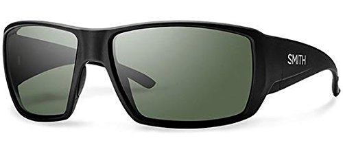 Smith Guide's Choice Sunglasses Matte Black with ChromaPop Polarized Gray Green - Size Guide Sunglass