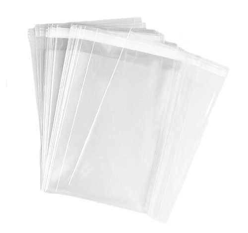 100PCS 4.3 x 5.7 inch(11cm x 14.5cm) Clear Resealable Self Sealing Cello/Cellophane Treat Bag for Bakery Candle Soap Cookie Gift Basket Supplies Xmas Gift Bag (Xmas Cookie Gift Baskets)