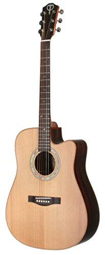 Teton Acoustic Electric Dreadnaught Steel String Cutaway Guitar With Solid Cedar Top, Rosewood Back & Sides STS155CENT