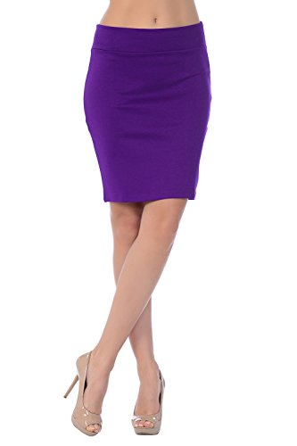 Jubilee Couture Womens Above Knee Short Sexy Mini Pencil Skirt Made in USA-Purple,3X