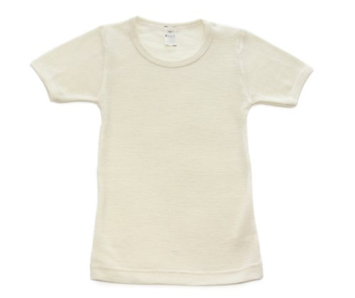 Underwear Short Sleeve (Wool-Silk Blend Long Underwear Shirt with Short Sleeves, Natural White, Size 116 (US Child Size)