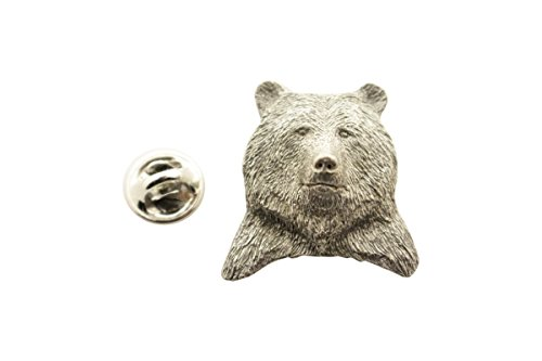 (Sarah's Treats & Treasures Grizzly Bear Head Pin ~ Antiqued Pewter ~ Lapel Pin)