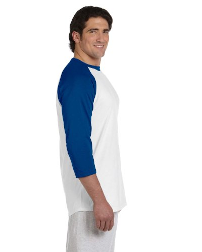 Champion Adult Raglan Baseball T-Shirt, Wht/Team Blue, Medium