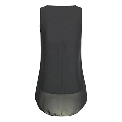 Sommer Chiffon Hemdbluse Rovinci Tank 02 Weste zurück aushöhlen T Vorne V Unterhemd Tops Reißverschluss Ärmellos Ausschnitt Unregelmäßigkeit Damen Frauen Schwarz Elegant Shirt Bluse 5qrUwxZq