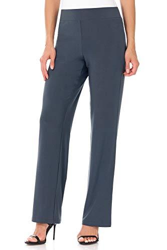 Rekucci Travel in Style - Women's Classic Straight Leg Pant (Medium,Charcoal)