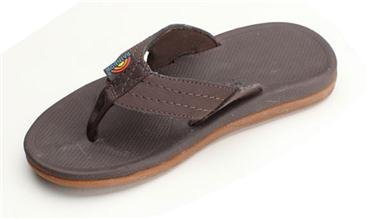 Rainbow Sandals Kid Capes Molded Rubber Sandal with Suede Strap and Back Strap, Dark Brown, (Youth Dark Brown Suede Footwear)