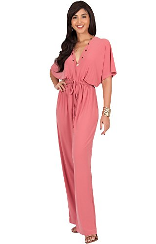 KOH KOH Womens Plus Size Short Kimono Sleeve V-neck Casual Cute Sexy Wide Leg Long Pants One Piece Jumpsuit Jumpsuits Pant Suit Suits Romper Rompers Playsuit, Cinnamon Pink, 2X Large XXL 18-20 (Sexy Pants Suits)