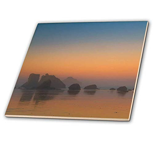 (3dRose Danita Delimont - Oregon - USA, Oregon, Bandon. Sunrise on beach with sea stacks in mist. - 8 Inch Glass Tile)