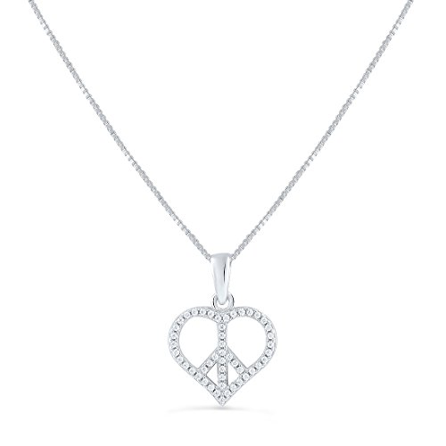 Sterling Silver Cz Peace Sign Heart Necklace 18