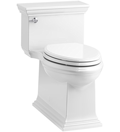 KOHLER K-6428-0 Memoirs Stately Comfort Height Skirted One-Piece Compact Elongated 1.28 GPF Toilet with AquaPiston Flush Technology and Left-Hand Trip Lever