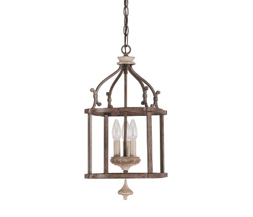 Capital Lighting 9471FO Chateau 3-Light Foyer Pendant, French Oak Finish Entry Lantern Foyer Lights