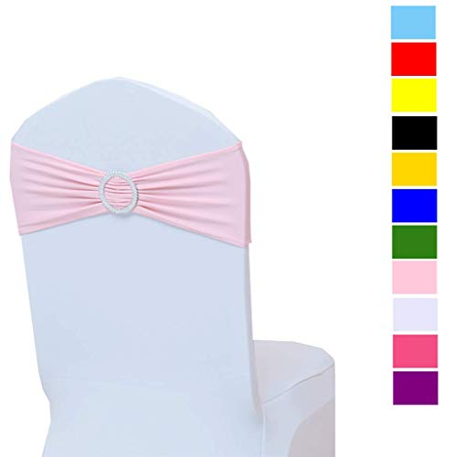 Fvstar 10pcs Pink Wedding Chair Sashes Party Chair Tie Ribbons Spandex Chair Bows for Baby Shower Event Banquet Birthday Decorations Without White Covers