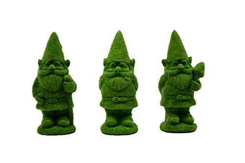 ShopForAllYou Figurines and Statues Miniature Fairy Garden Flocked Gnome Topiaries - Set of 3