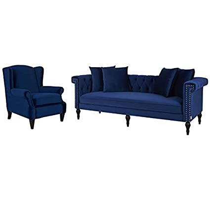 Chesterfield Sofa With Accent Chairs.Amazon Com Jennifer Taylor Home 2 Piece Sofa Set With Chesterfield