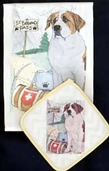Pipsqueak Productions DP924 Dish Towel and Pot Holder Set - St. Bernard by Animal Den