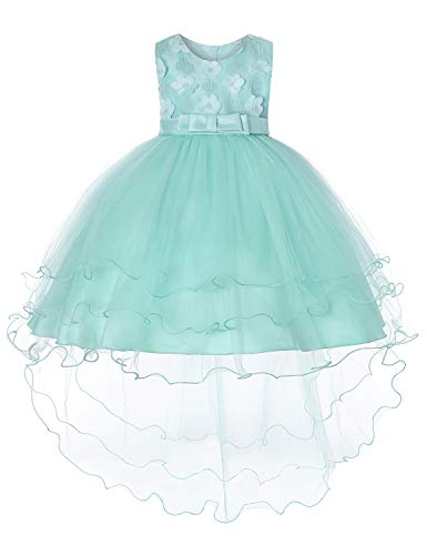 JOYMOM Gown Dresses for Girls,Kids Trendy Boat Neck Sleeveless Handmade Flower Applique Delicate Tutu Dress Hidden Zipper Big Back Bowknot Outfit Green (130) 5-6 Years