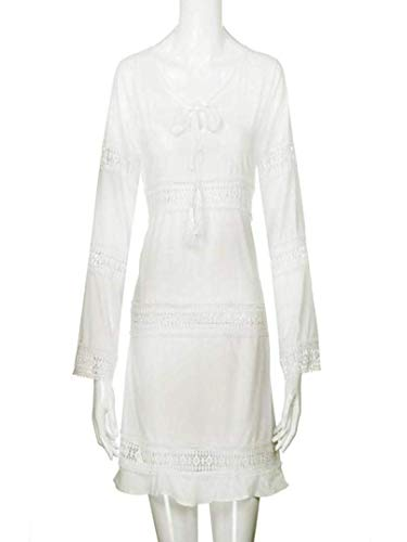 Mini Vestido Corto de Manga Hueca de Encaje con Abertura de Encaje 3/4 de Mujer (Color : Blanco, tamaño : XXX-Large): Amazon.es: Hogar