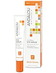 Andalou Naturals Luminous Eye Serum, 0.6 oz, Brightens, Tones & Firms Skin Under Eyes, Night & Day Use, For Younger Looking Skin