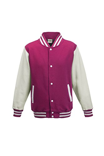 AWDis Hoods Big Boys' Varsity Letterman Jacket Hot Pink / Wh